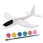 Самолет из пенопласта белый с красками для раскрашивания