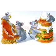 Фигурка из полистоуна (KR-03) «Крыса» с тортом символ 2020 года 144 шт/кор