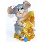 Фигурка из полистоуна (KL-1547) крыса с сыром символ 2020 года