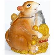 Копилка из полистоуна (KL-1550) крыса с рыбой символ 2020 года
