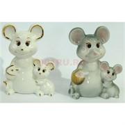 Фарфоровая статуэтка (KL-1527) крыса с крысенком символ 2020 года