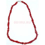Бусы красные из коралла чередующиеся прямоугольные