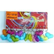 Брелок (KL-1217) сердце пластик разноцветное 120 шт/уп