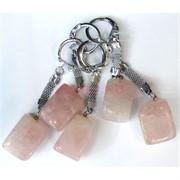 Брелок металлический с натуральным розовым кварцем