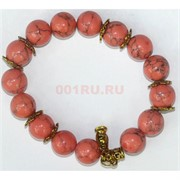 Браслет из розового коралла 12 мм с металлическими вставками