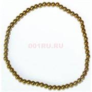 Браслет из гематита 4 мм «цвет золото»