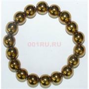 Браслет из гематита 12 мм цвет «золото»