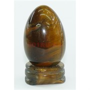 Яйцо из натурального тигрового глаза на подставке