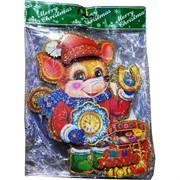 Картинка Новогодняя Крыса с липучкой 10 шт/уп малая