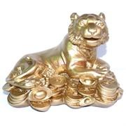 Фигурка Тигр с монетами из гипса
