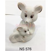 Крыса с крысенком (NS-576) из белого фарфора