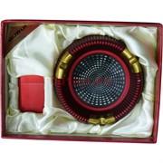 Набор Borui красный «круглая пепельница+зажигалка»