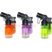 Горелка-зажигалка пластмассовая цветная прозрачная