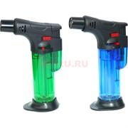 Горелка-зажигалка пластмассовая цветная с подставкой