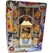 Набор подарочный в золоте Россия Герб «бутылка + 6 стопок»