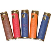 Зажигалка турбо газовая цветная в коже 4 цвета
