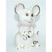 Мышка из белого фарфора 10 см