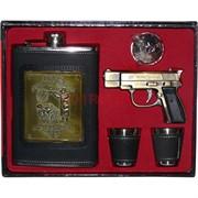 Набор подарочный «Фляга, пистолет-зажигалка, 2 стаканчика»