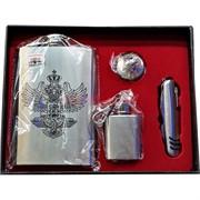 Набор подарочный Фляга Двуглавый Орел, фляжка-брелок и нож (18010)