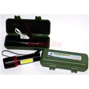 Фонарик с аккумулятором USB зарядкой (BL-833-T6) в кейсе