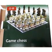 Набор большой 35 см доска для игры в шахматы со стеклянными стопками