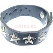 Кожаный браслет 22 см (S-91) черный со звездами 12 шт/уп