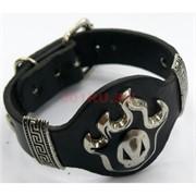 Кожаный браслет (24 см) черный с металлом 12 шт/уп