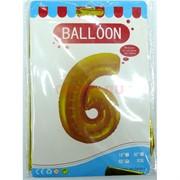 Воздушые шары с золотой цифрой «6»