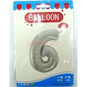Воздушые шары с серебрянной цифрой «6»