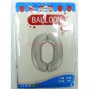 Воздушые шары с серебрянной цифрой «0»