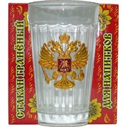 Стакан граненый 250 мл «герб России» в подарочной упаковке