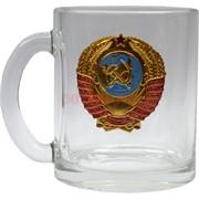 Чашка с ручкой «герб СССР» стеклянная