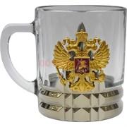 Чашка с ручкой «орел герб России» стеклянная в золоте