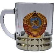 Чашка с ручкой «герб СССР» стеклянная в золоте