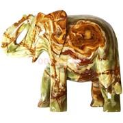 Слон из оникса 16 см высота (8 дюймов) с загнутым хоботом
