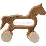 Массажер деревянный в виде лошади с колесиками