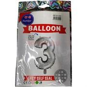Воздушые шары с серебрянной цифрой «3»