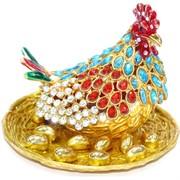 Шкатулка со стразами Курица с яйцами (5379)