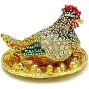 Шкатулка со стразами Курица с яйцами (652)
