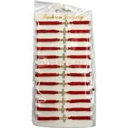 Браслет из красной нити (M-50) кресты со стразами 12 шт/уп