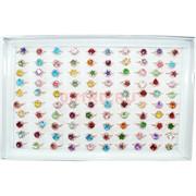 Кольца металлические со стразами и цветными камнями 100 шт/уп