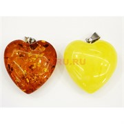 Сердца из янтаря 2 цвета (подвеска)
