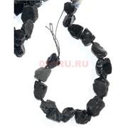 Нитка бусин 44 см из черного турмалина 18 камней