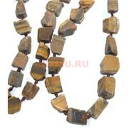 Нитка бусин 44 см из тигрового глаза 15 камней