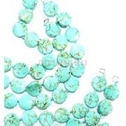 Нитка бусин из голубой бирюзы круглые 28 бусин