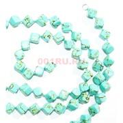 Нитка бусин из зеленой бирюзы квадратные 31 бусина