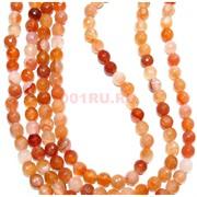 Нитка бусин 8 мм из оранжевого граненого агата 48 бусин