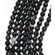 Нитка бусин 6 мм из граненого черного агата 59 бусин