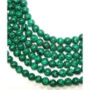 Нитка бусин 6 мм из зеленого малахита 69 бусины