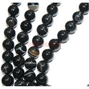 Нитка бусин 14 мм из черного агата полосчатый 28 бусин